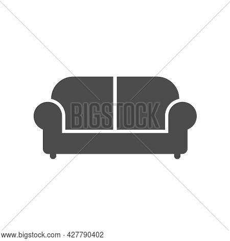 Sofa Silhouette Vector Icon Isolated On White Background. Couch Furniture Icon For Web, Mobile Apps,