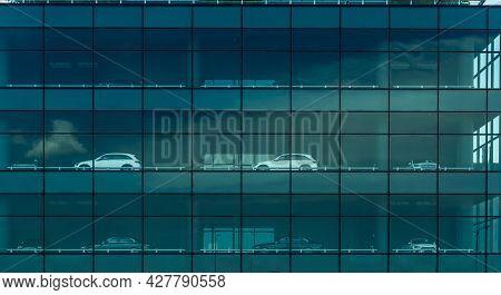 Bangkok, Thailand-june 4, 2021 : Mercedes Benz Car Parked At Multistory Car Park Building. Multi-lev