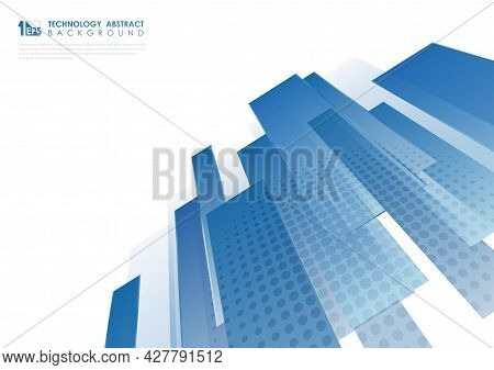 Abstract Blue Lines Pattern Artwork Modern Decor Template. Overlapping With Halftone Style Backgroun