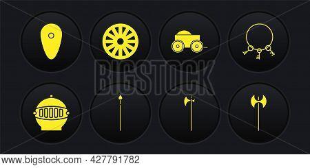 Set Medieval Iron Helmet, Old Keys, Spear, Halberd, Wooden Four-wheel Cart, Wooden, Axe And Shield I