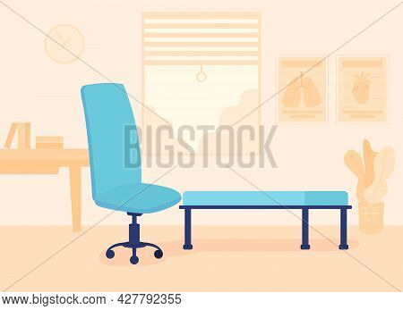 Furnished Psychotherapy Room Flat Color Vector Illustration. Therapeutic Practice. Place For Talking