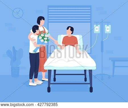 Member Family At Hospital Flat Color Vector Illustration. Patient Emergency Room. Family Presence At