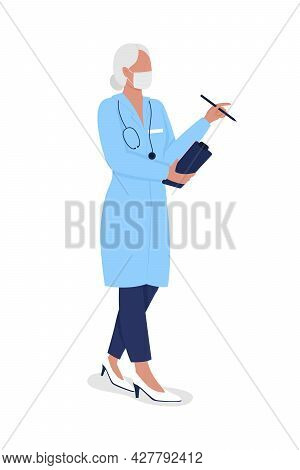 Aging Doctor Semi Flat Color Vector Character. Older Physician. Full Body Person On White. Medical P