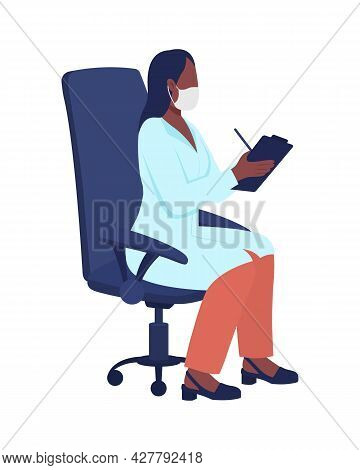 Doctor Writing Treatment Plan Semi Flat Color Vector Character. Full Body Person On White. Patient A