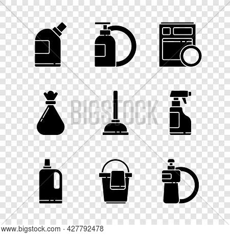 Set Bottles For Cleaning Agent, Dishwashing Liquid Bottle And Plate, Kitchen Dishwasher Machine, Fab