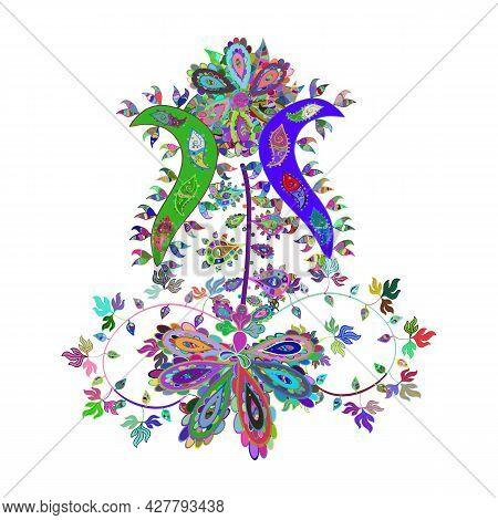Colour Spring Theme Sketch Pattern Background. Sketch Chichi Fabric Pattern. Flat Flower Elements De