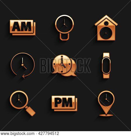 Set Clock Speech Bubble, Pm, Location With Clock, Smartwatch, Magnifying Glass, Retro Wall And Am Ic