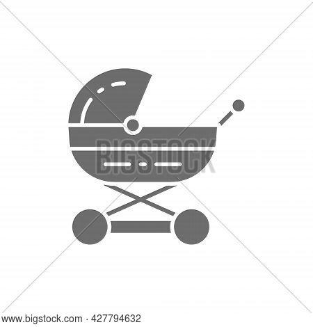 Baby Carriage, Stroller For Newborn, Pram Grey Icon.