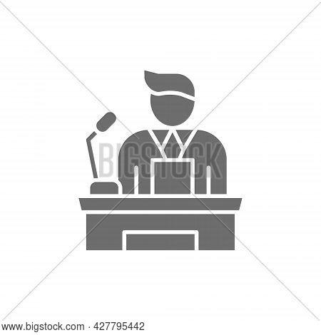 Speaker, People On Podium Speech, Conference Presentation Speech Grey Icon.