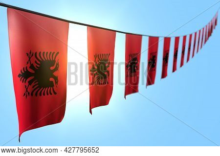 Wonderful Any Occasion Flag 3d Illustration  - Many Albania Flags Or Banners Hangs Diagonal On Rope
