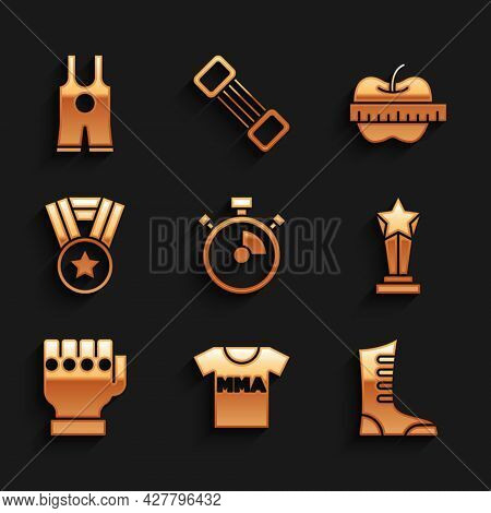 Set Stopwatch, T-shirt With Fight Club Mma, Sport Boxing Shoes, Award Cup, Glove, Medal, Apple And M