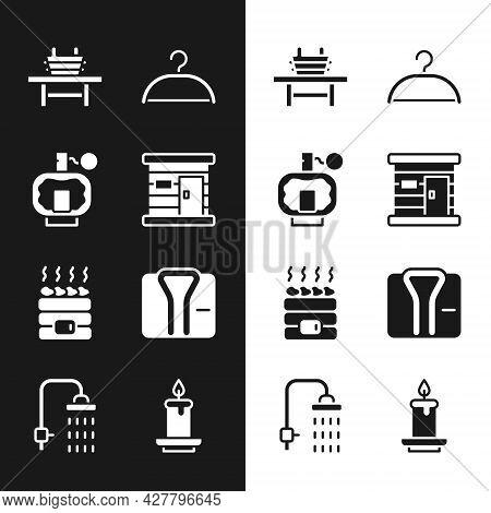 Set Sauna Wooden Bathhouse, Aftershave, Bench With Bucket, Hanger Wardrobe, Hot Sauna Stones, Bathro