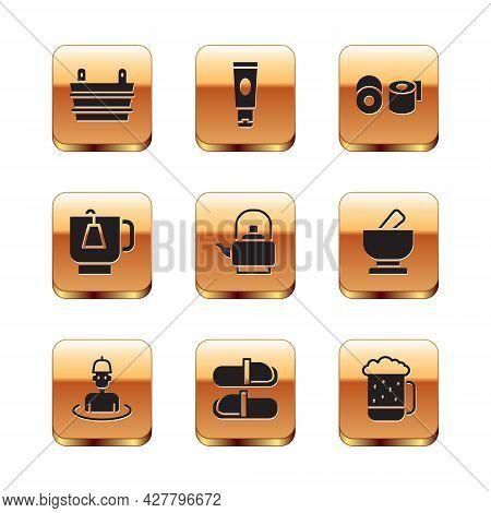 Set Sauna Bucket, Man In The Sauna, Slippers, Kettle With Handle, Cup Of Tea Tea Bag, Toilet Paper R