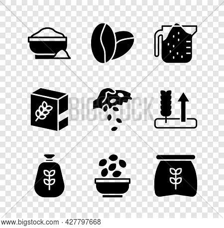 Set Flour Bowl, Coffee Beans, Measuring Cup, Bag Flour, Seeds, Pack And Icon. Vector