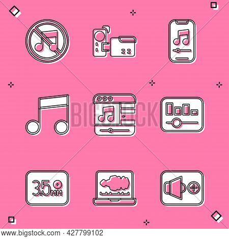 Set Speaker Mute, Cinema Camera, Music Player, Note, Tone, Equalizer, Audio Jack And Sound Or Audio
