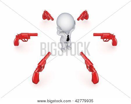 Revolvers around 3d small person.