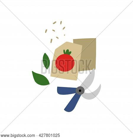 Vegetable Seeds. Garden Pruner And Package With Tomato Seed, Gardening Tools, Agricultural Shop, Org