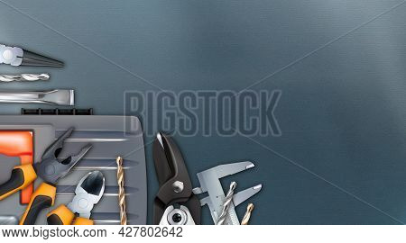 Realistic Corner Composition On The Theme Of Assembler Or Locksmith Skill. Craft Hand Metal Processi