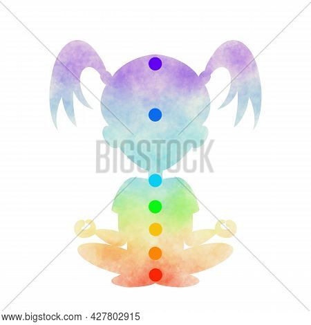 Chakra Color Painted Child Girl Silhouette Of Yoga Lotus Position With Chakra Circles. Hand Drawn Di