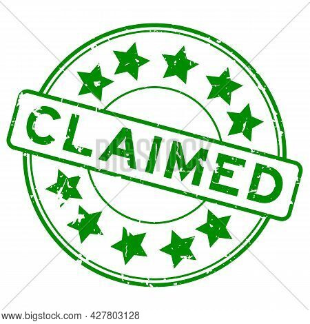 Grunge Green Claimed Word With Star Icon Round Rubber Seal Stamp On White Background