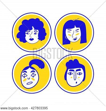 Doodle Avatars. Vector User Avatars In Trendy Hand Drawn Style.