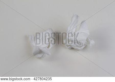 Used Tissue Paper Ball On White Background. Paper Napkin.