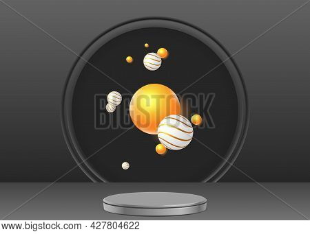 Realistic Dark Scene With A Round Pedestal And Group Of Flying Objects. White And Golden Spheres