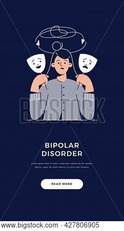 Bipolar Disorder, Manic Depression Banner. Woman Suffers From Mood Swings Shows Two Face Mask With H