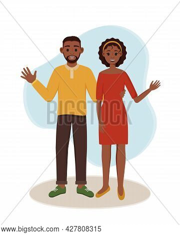 A Black Woman And A Man Are Standing. Vector Illustration Of Happy Lovers. Smiling Couple Waving Han