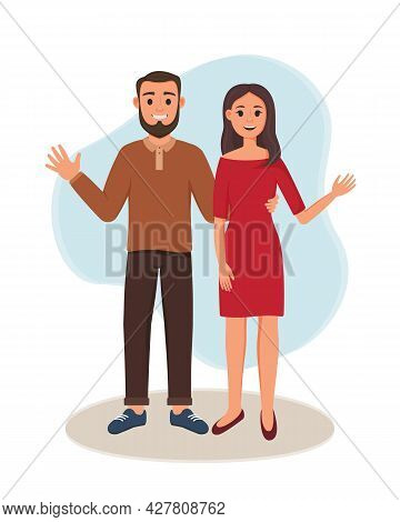 A Woman And A Man Are Standing. Vector Illustration Of Happy Lovers. Smiling Couple Waving Hand. Bro