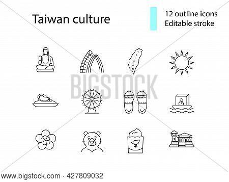 Taiwan Culture Outline Icons Set. Taiwanes Attractions. Buddha, Formosan Bear. Water Lantern. Custom