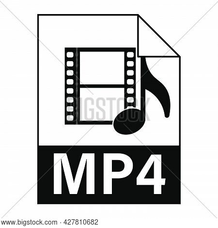 Modern Flat Design Of Mp4 Illustration File Icon For Web. Simple Style