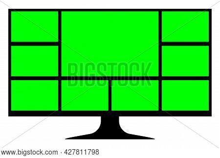Green Screen On Lcd Screen Computer For Video Call Insert, Green Screen Collage Grid Template, Compu