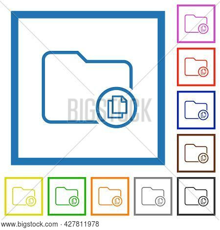 Copy Directory Flat Color Icons In Square Frames On White Background