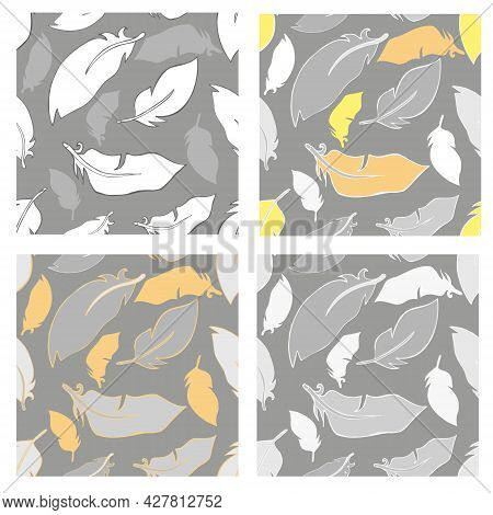 Feathers Seamless Pattern Set  Seamless Pattern With Bird Feathers Flying In The Air In Four Color O