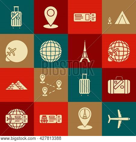 Set Plane, Suitcase For Travel And Stickers, Globe With Flying Plane, Travel Ticket, Earth Globe, An