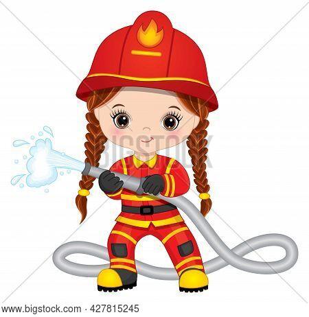 Cute Little Girl Firefighter With Fire Hose. Vector Little Girl With Pigtails. Little Girl Firefight