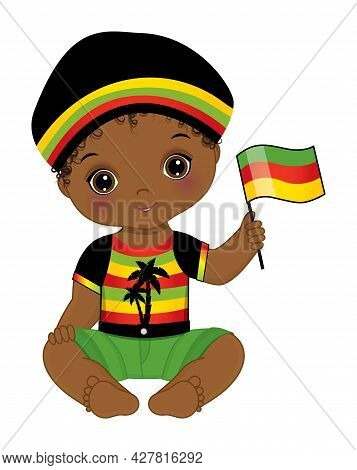 Vector Black Baby Boy Is Sitting And Holding Flag. African American Cute Baby Boy Is In Reggae Outfi