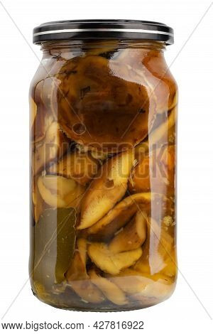 Jar Of Marinated Forest Wild Whole Mushrooms. Homemade Preserves, Ready To Eat. Isolated On White Ba