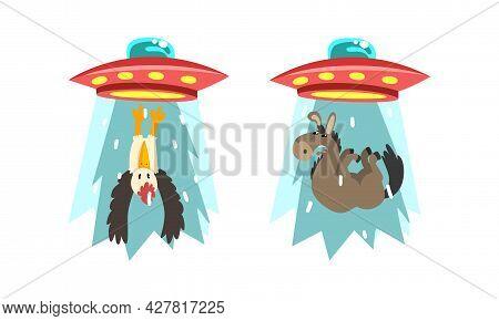 Ufo Abducting Animals Set, Alien Spacecraft Stealing Donkey And Bird Cartoon Vector Illustration