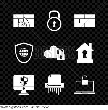Set Firewall, Security Wall, Lock, Bricks, Computer Monitor And Shield, Paper Shredder Confidential,