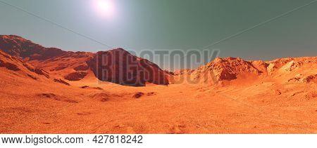 Mars planet landscape, 3d render of imaginary mars planet terrain, orange eroded desert with mountains, realistic science fiction illustration.