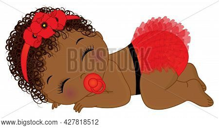Cute Little Black Baby Girl Wearing Red Ruffled Diaper And Floral Headband. African American Girl Is