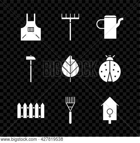 Set Kitchen Apron, Garden Rake, Watering Can, Fence Wooden, Retro Wall Watch, Hammer And Leaf Icon.