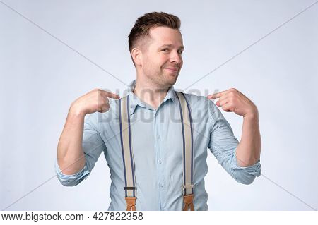 Smug Arrogant Man Pointing At His Chest, Proudly Saying I Did It Myself.