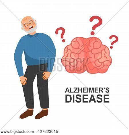 Senior Man With Alzheimer's Disease In Flat Design On White Background. Brain Illness.
