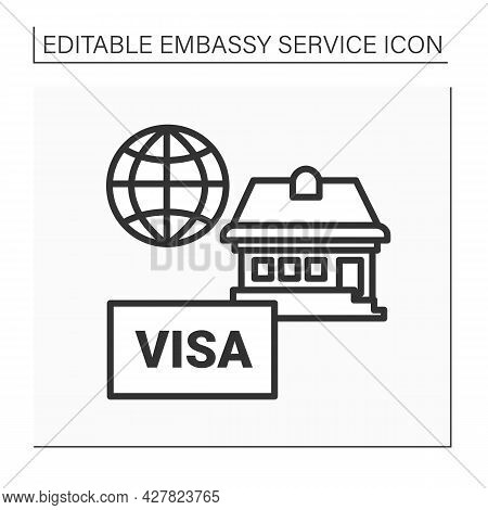Residence Line Icon. Temporary Residence For Citizens. Embassy Help. Embassy Service Concept. Isolat
