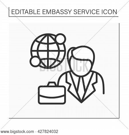 Diplomatic Mission Line Icon. Foreign Mission. Representation Government Located In Another State Te