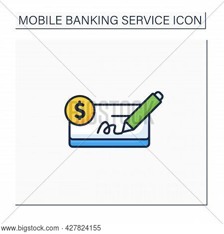 Pay In Cheques Color Icon. Paying Purchases Using Cheques. Written On A Specially Printed Form. Easy