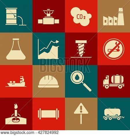 Set Oil Railway Cistern, Tanker Truck, No Smoking, Co2 Emissions Cloud, Price Increase, Petrol Test